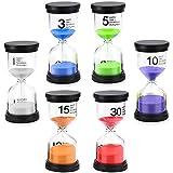HQCM - Juego de relojes de arena de 6 colores, 1/3/5/10/15/30 minutos, temporizador, para niños, cepillos, limpieza de dientes, aula, juegos, hogar, cocina, oficina