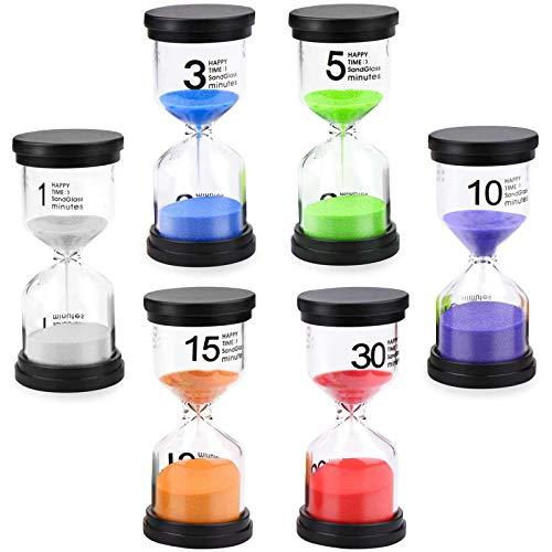 Lot de 6 sabliers colorés en verre 1/3/5/10/15/30 minutes pour le brossage des dents des enfants, l'école, la crèche, les jeux de classe, la maison, la cuisine, le bureau, le thé