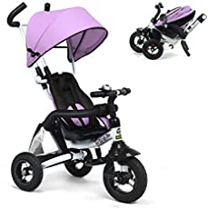 Costzon Baby Tricycle, 6-in-1 Foldable Steer Stroller, Learning Bike w/Detachable Guardrail, Adjustable Canopy, Safety Harness, Folding Pedal, Storage Bag, Brake, Shock Absorption Design, Pink