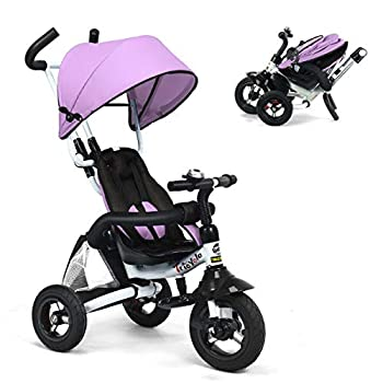 Costzon Baby Tricycle 6-in-1 Foldable Steer Stroller Learning Bike w/Detachable Guardrail Adjustable Canopy Safety Harness Folding Pedal Storage Bag Brake Shock Absorption Design Pink