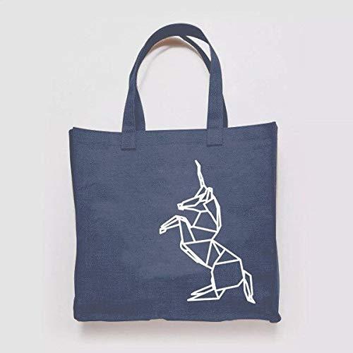 Geométrico Origami Unicornio ilustración patrón tejido lona shopper bolsa reciclada compras gimnasio libros Tumblr divertido broma playa