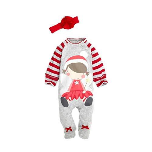 Bebé Equipo De La Navidad Navidad Ropa De Bebé Alquiler De Vestuario De Invierno Largo De La Manga Del Mono Con La Diadema Para La Niña De 90 Cm 1ponga