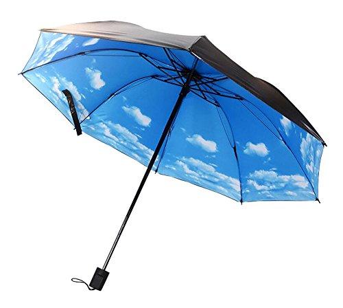 Black Temptation Parapluie de Motif de Ciel Bleu Parasol Anti-UV Triple Pliable