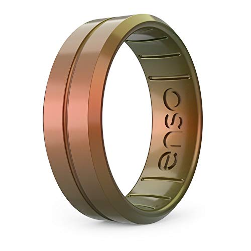 Enso Rings Classic Legends Contour Silicone Ring – Multi Color Unisex Wedding Engagement Band – Comfortable Breathable Band for Athletes – – 6.6mm Wide, 1.75mm Thick 8 UK