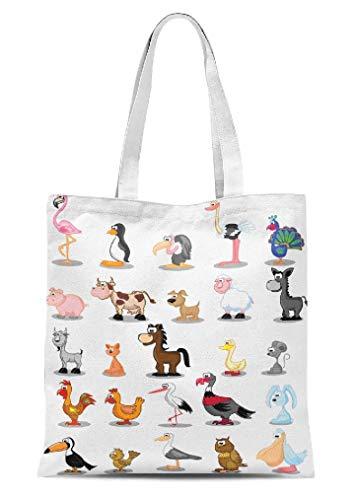 Animals Canvas Tote Bag Cute Cartoon Crafts Handbags Kids Gift