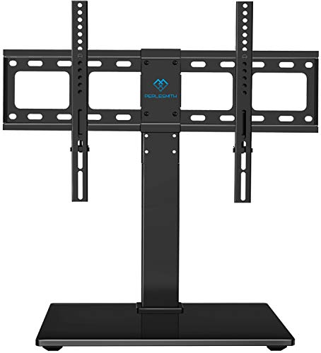 PERLESMITH Universal Swivel TV Stand / Base - Table Top TV Stand for 37-65 inch LCD LED TVs - Height Adjustable TV Mount Stand with Tempered Glass Base, VESA 600x400mm, Holds up to 88lbs