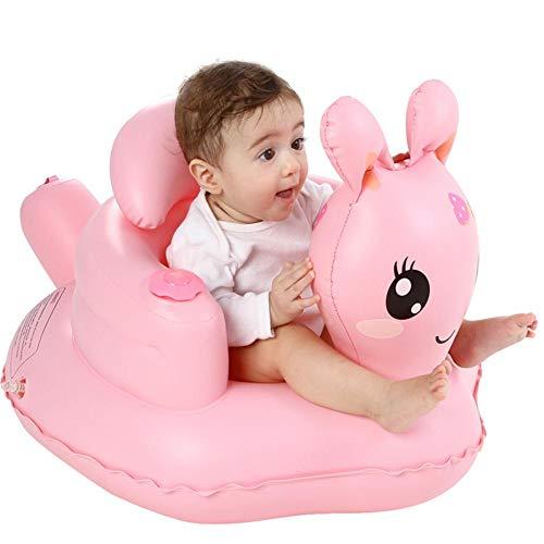 Bloomma Rosa Bebé Inflable Sofá Asiento Bebé Aprendizaje Sentado Silla de Comedor Portátil Multifuncional Taburete de Baño de PVC Juguete Ajuste Bebé / b