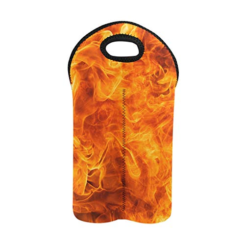 Bolsa para vino de playa Blaze Fire Flame Texture Bolsa portadora de licor Portabotellas doble Monedero para vino Portabotellas de neopreno grueso Mantiene las botellas protegidas