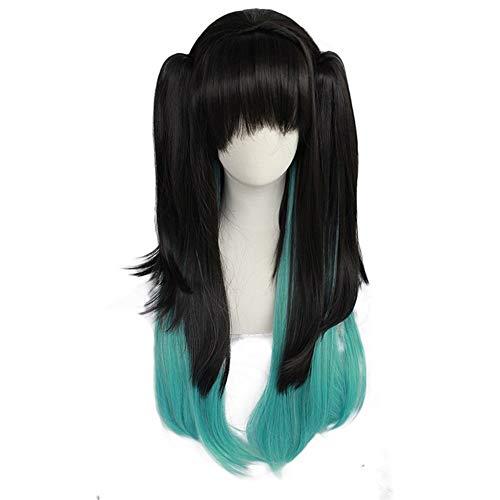 ZiWen Lu Black Perruque dégradé bleu/vert