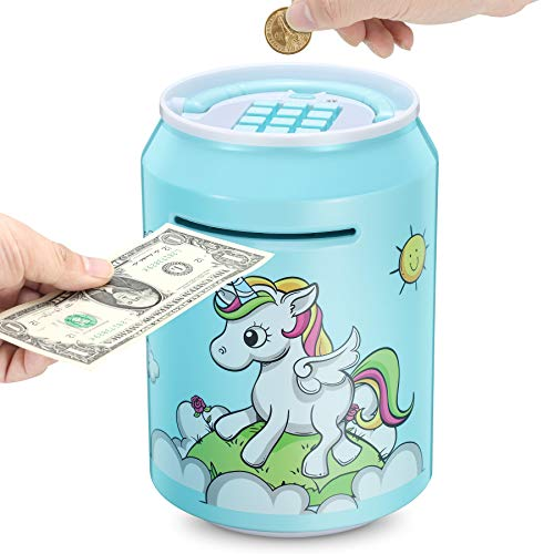 M MEEPO Electronic Kids Piggy Bank, Great Gift Large Cartoon ATM Saving Bank with Password for Children Boys Girls, Auto Money Scroll Cash Coin Saving Box, with Music and Lights ( Blue )