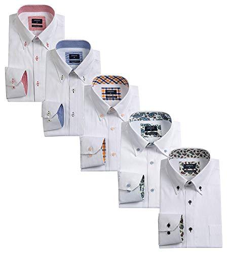 ワイシャツメンズ 長袖ビジネスワイシャツ5枚 セット好きなセットが選べる (S, LM503B)