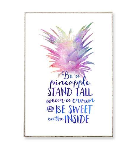 DIN A4 Kunstdruck Poster BE A PINEAPPLE -ungerahmt- Typografie, Schrift, Ananas, Spruch, tropisch, Motivation, Wasserfarbe, Frucht
