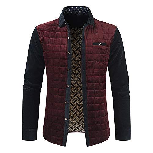 BEIXUNDIANZI Herren Langarm Jacke Feste Farben für Business Freizeit mit Revers Winterjacken Warm Outwear Z-Wine Red L