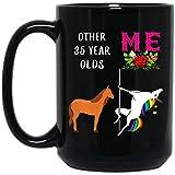 N\A Divertido Unicornio Regalo de 35 cumpleaños para Mujeres Que cumplen 35 años, Nacido en 1984, Taza de café Negra de 11...