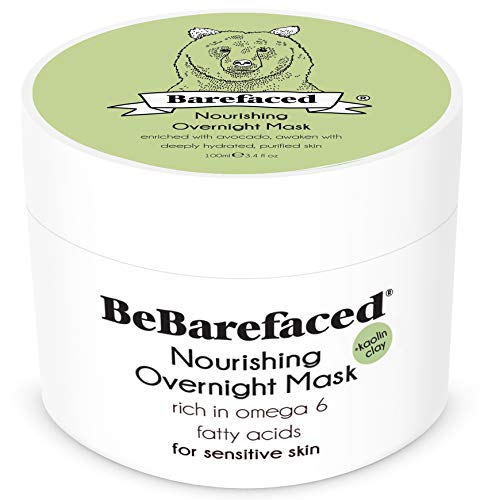 BeBarefaced Overnight Avocado Organic Face Mask For Sensitive Skin - Soothing Nourishing Hypoallergenic Facial Rosacea Treatment For Dryness and Dehydration - Kaolin Clay and Natural Antioxidants