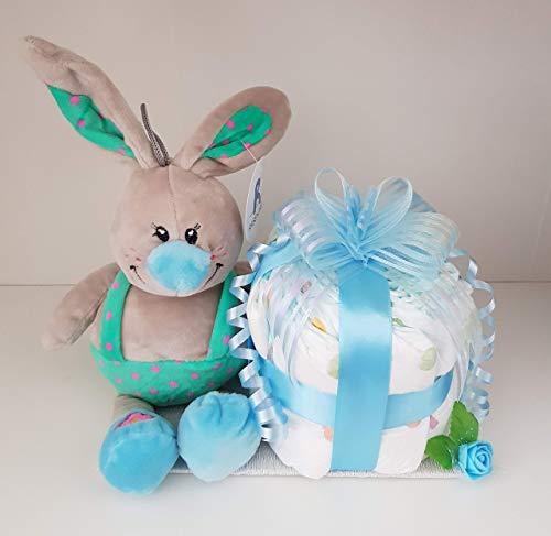 Windeltorte blau, Torte aus Pampers für Jungen, Geburt, Taufe, Geschenk für Jungen, Baby Party, Pampers Gr.3, Kuscheltier-Hase
