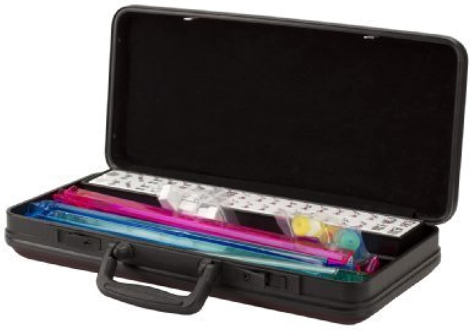 American Mah Jongg Hard Case New 166 Tile Set with 4 color Pushers, Burgundy White by CHH