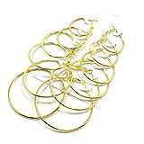 Pares de Pendientes de aro - 6 Pares/Juego de Pendientes de aro de círculo Grande de Moda para Mujer, Fiesta, Damas,...