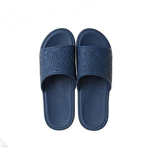 JFHZC Zapatillas de Ducha,Zapatos para el hogar de baño Antideslizantes de Suela Blanda Eva para Interiores, Las Parejas de Verano Usan Sandalias y Pantuflas Outside-Navy_43-44
