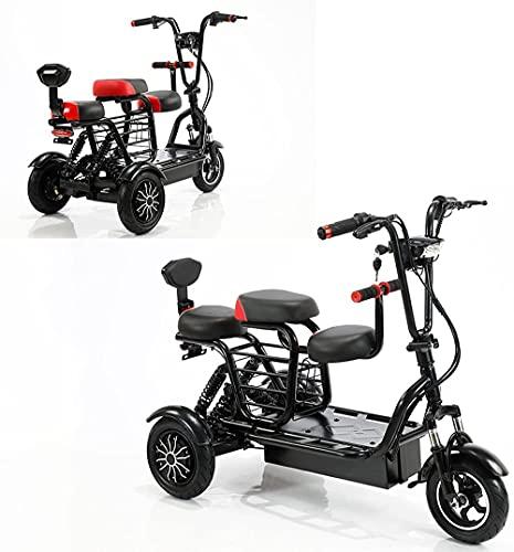 Triciclo Eléctrico Plegable 700W Scooter De Doble Unidad 48V15A Scooter De Viaje Al Aire Libre De Litio Para Personas Mayores Con Discapacidades, La Gama De Cruceros Es De 55 A 60 Kilómetros,Negro