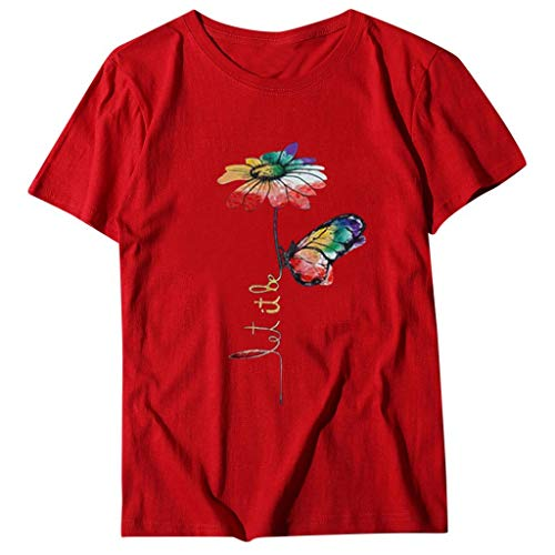 Best Price Camiseta De Verano Cute Rainbow Flower Print Casual Blusa De Manga Corta Estilo De Moda 2...