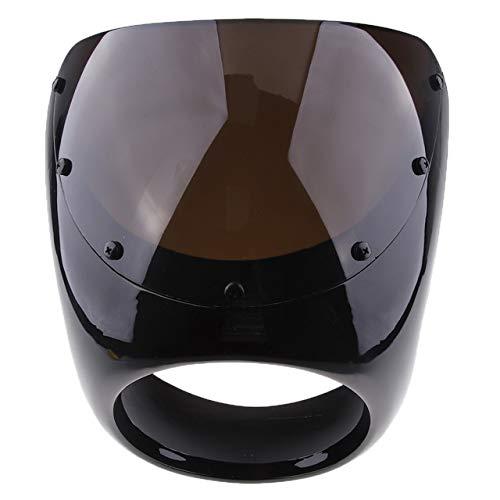 LUJIAN Moto Retro Anteriore del Motociclo Cupolino Parabrezza dello Schermo di plastica Universale for Café Racer Faro Parabrezza Vento deflettori (Color : Black)
