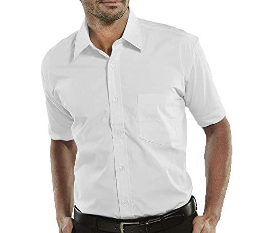Camisa Social Manga Curta 100% Microfibra Masculina Branca