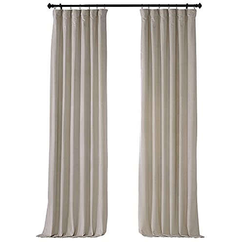 HPD Half Price Drapes VPYC Heritage Plush Velvet Curtain (1 Panel), 50 X 96, Light Beige