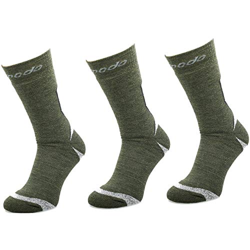 Comodo 3 Pares de Calcetines de Trekking | Mujeres/Hombres | Deportes | Verano-Invierno | 50% Lana Merina | STE - Khaki/Mouline | Tamaño: 43-46