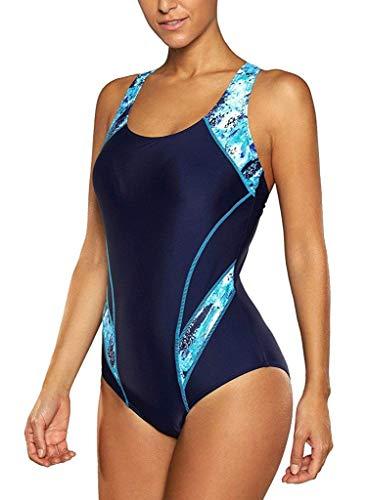 CharmLeaks Womens Sport Swimsuit Water Aerobics Swimwear Lap Bathing Suit Blue L