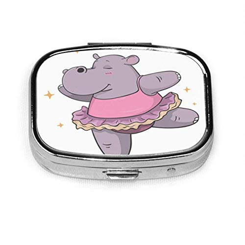 Colorful Cartoon Hippo Dancing Case Portable Mini Container Organizer with 2 Compartments Square Pill Box