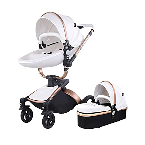 2 in 1 Kombikinderwagen Kinderwagen 2-in-1 Dreirad Lauflernhilfe Hochlandschaft Kinderwagen Faltbarer Kinderwagen Babywagen Babywagen für Baby 0-36 Monate (Weiß 2 in 1)