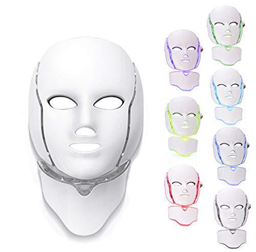 7 Colores Luces Máscara Facial LED, Terapia De Fotones Rostro Y Cuello Rejuvenecimiento Antienvejecimiento Tratamiento Reafirmante Del Acné Dispositivo De Salón De Belleza Con Control Remoto