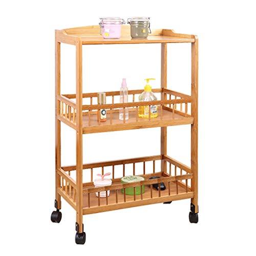 Küchen Regal Lagerung Beistellwagen Rollwagen Kautschukholz, mit 3 Regalböden für Barzubehör, Wood Color Kitchen Shelf Tea Trolley