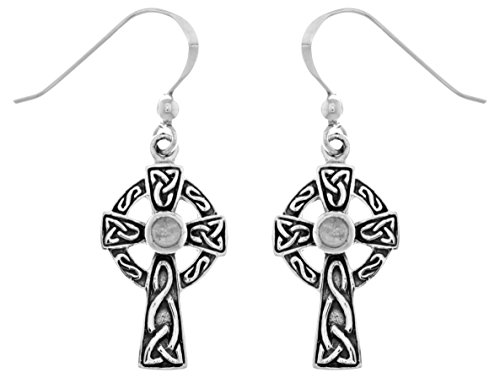 Jewelry Trends Sterling Silver Celtic Cross Dangle Earrings with Rainbow Moonstone