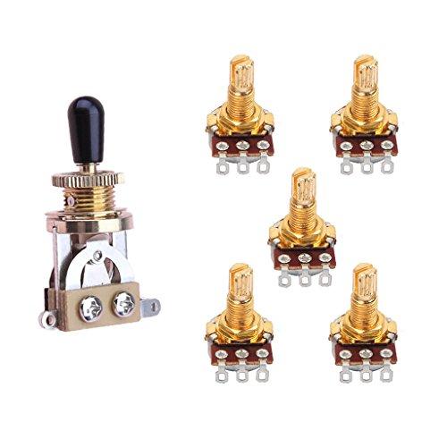 SunniMix Interruptor Basculante de Guitarra de 3 Vías + Potenciómetro de 5 Piezas