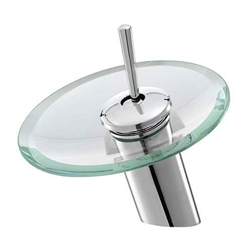 XBSJB Waschtischarmatur Moderner Stil Küche Badezimmer Gefäß Kupfer Glas Runde Wasserfall Badewanne Waschbecken Wasserhahn Messing Körper Chrom-Finish