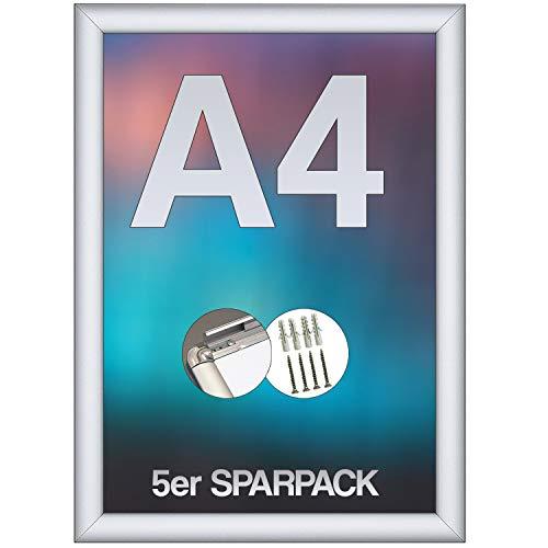 webwarenhaus 5X DIN A4 Plakatrahmen mit Ecken auf Gehrung | Silber eloxiert | inkl. APET Frontscheibe und Befestigungsmaterial | Alu Klapprahmen Posterrahmen | 5er Set