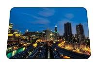 22cmx18cm マウスパッド (シカゴイリノイ州夜の高層ビル街の明かり) パターンカスタムの マウスパッド