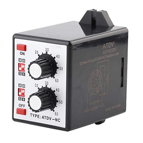 Ivaank Relé de Temporizador Doble, Interruptor de Tiempo de Control de Perilla de relé de Temporizador Doble de Encendido y Apagado 6S-60M AC 220V