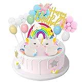 DUOUPA Unicornio Decoración de Tartas Cake Topper Unicornio Decoración de Tartas Globo de decoración de pastel de cumpleaños de Rainbow Cloud