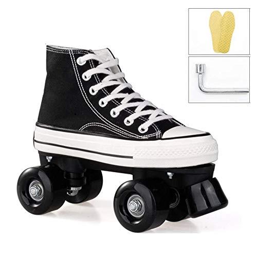 HIHIHI Double rangée Patins à roulettes LED, Patins à Quatre Roues, Patins à roulettes pour la patinoire pour Sports De Plein Air Adultes Enfants,Noir,39