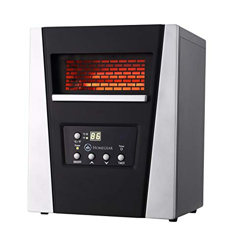 Homegear 1500W Infrared Electric Portable Space Heater Black + Remote Control