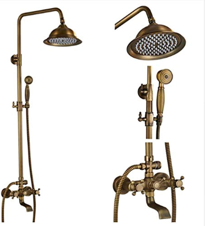Shower System Regentrocher Mount Bath Duschmischer Taps Brass Antique Bathroom Duschset Kolonne Dual Handle Duschen-Faucet 360 Rotate Spout,E