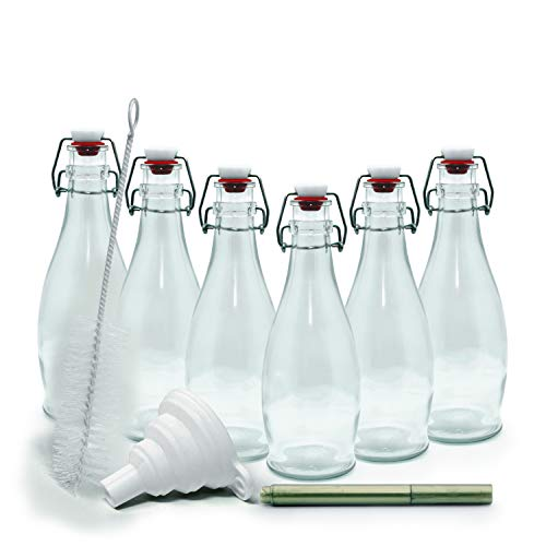 mockins Set of 6 | 8.5 Oz. Glass Bottle Set with Swing Top Stoppers and Includes Bottle Brush, Funnel and Gold Glass Marker | Clear Glass Water Bottle