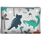 Mizongxia Pillow Cases Childish Dinosaur Seamless Pattern Fashion Clothes Fabric t Shirts Hand Drawn Vector Lettering 20 * 30inch