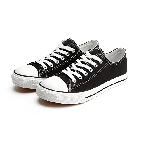 ZGR Women Canvas Low Top Sneaker Laceup Classic Casual Shoes Black US8