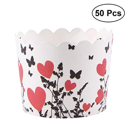 YeahiBaby 50 unids Cupcake Paper Moldes Papel Copa de Horneado de Muffin Taza Papel para Cumpleaños y Fiestas