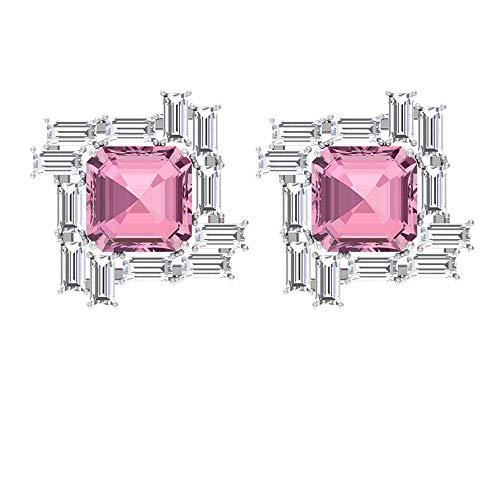 Pendiente de oro con turmalina de 1,8 quilates, 1,2 quilates de diamante Baguette certificado SGL, Pendiente de piedra preciosa de corte Asscher, 14K Oro rosa, Par