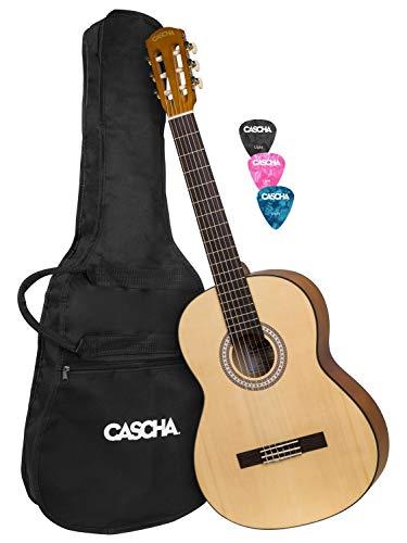 CASCHA 4/4 Konzertgitarre inkl. 3 farbigen Plektren I Hochwertige Gitarre für Anfänger und Kinder ab 10 Jahren I Akustik Gitarre mit Gig Bag ideal zum Gitarre lernen I Perfekte Größe 4/4